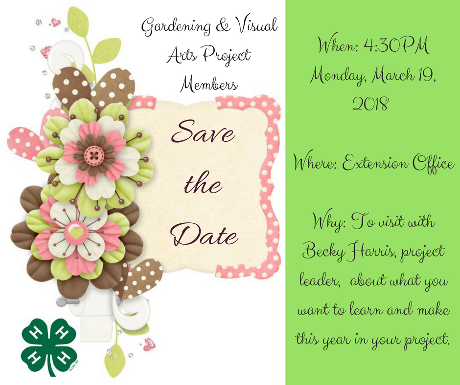 Gardening & Visual Arts Project Members - Save the Date